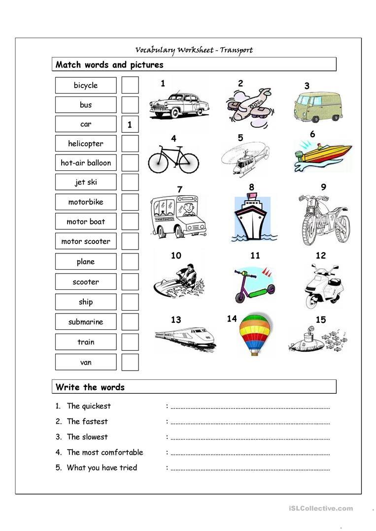Vocabulary Matching Worksheet - Transport Worksheet - Free Esl - Free Printable Transportation Worksheets For Kids