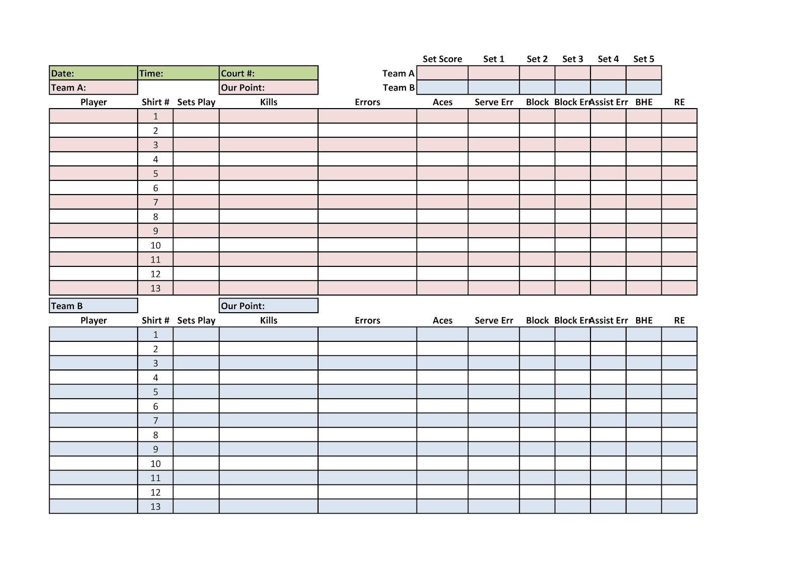 Volleyball Stat Sheet Template. Template Including A Game Schedule - Printable Volleyball Stat Sheets Free