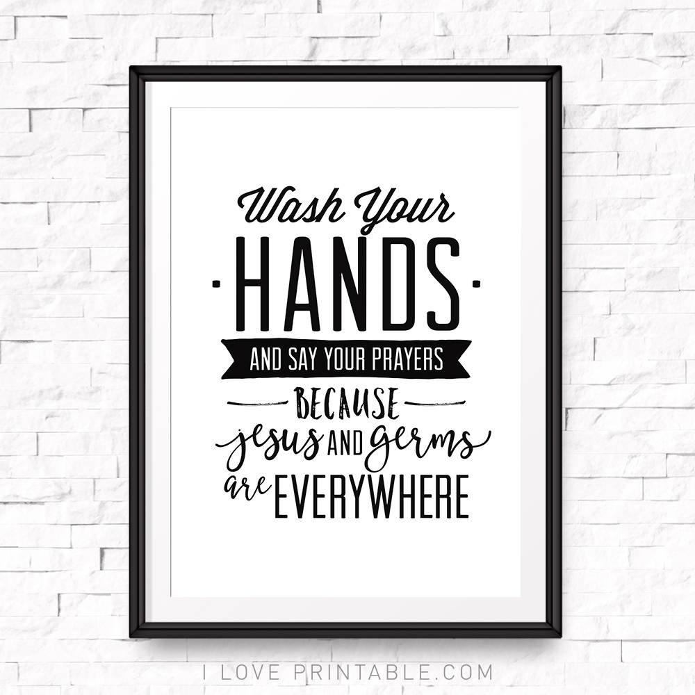 Wash Your Hands And Say Your Prayers Printable Bathroom | Etsy - Wash Your Hands And Say Your Prayers Free Printable