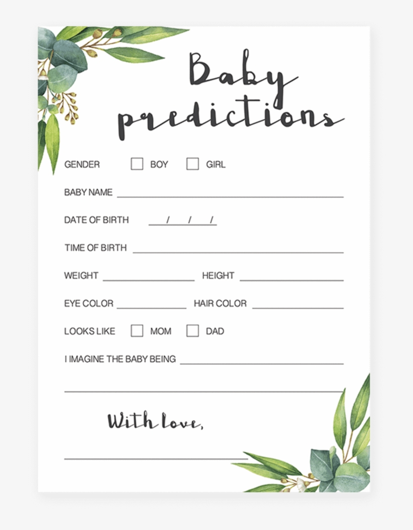 Watercolor Leaves Baby Predictions Game Printable- Baby Shower - Baby Prediction And Advice Cards Free Printable