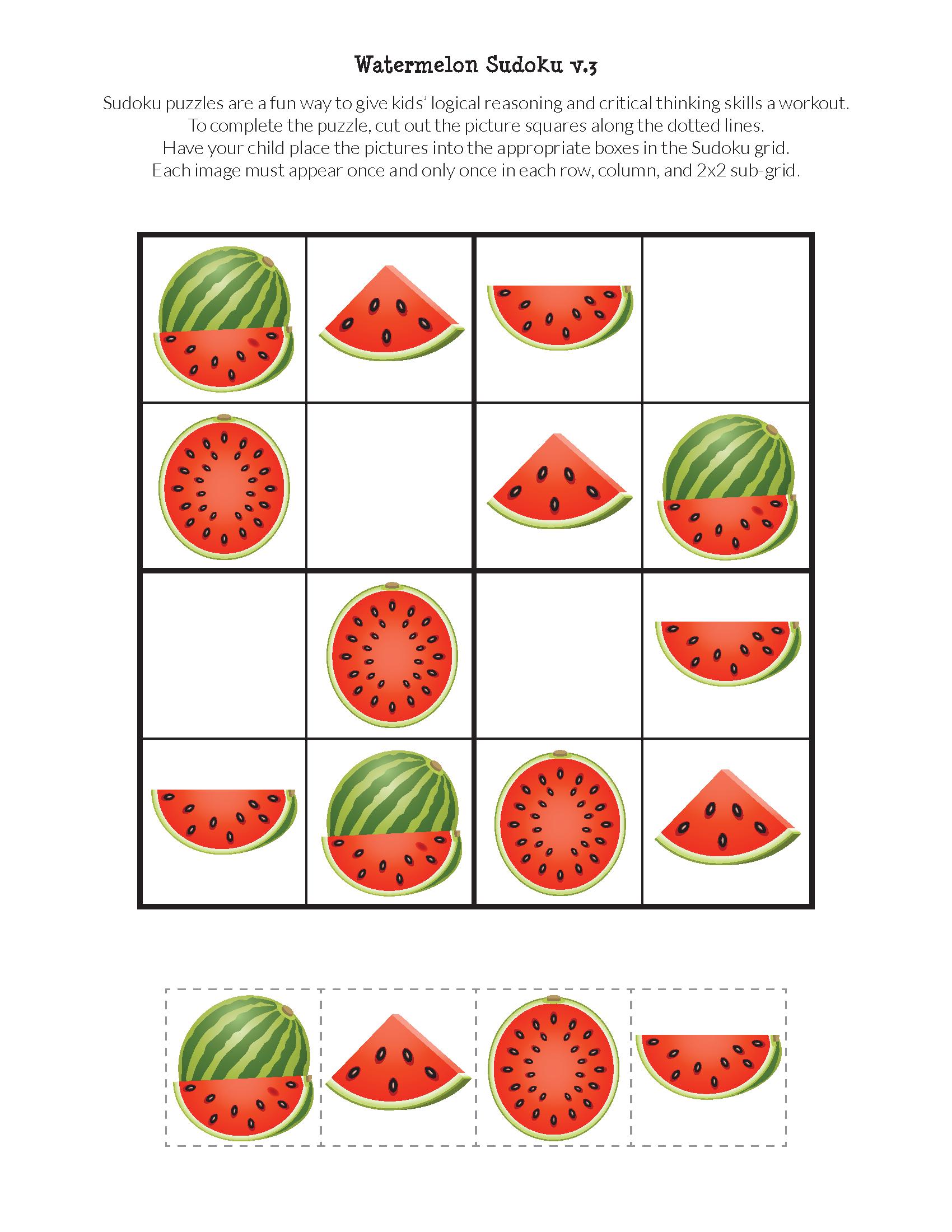 Watermelon Sudoku Puzzles {Free Printables}   Puzzles   Sudoku - Free Printable Critical Thinking Puzzles
