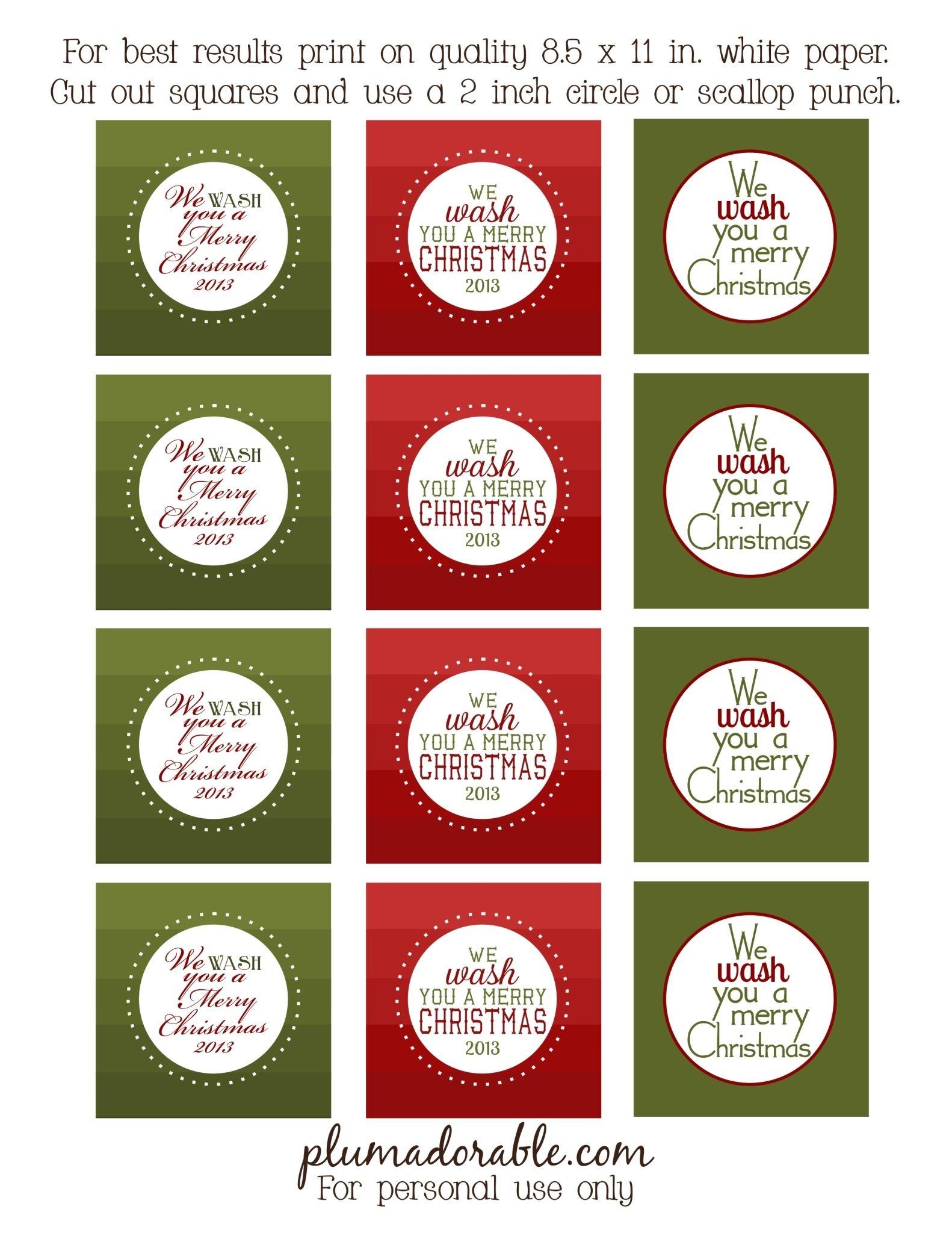 We Wash You A Merry Christmas - Free Printable Tags | Teacher Gift - We Wash You A Merry Christmas Free Printable