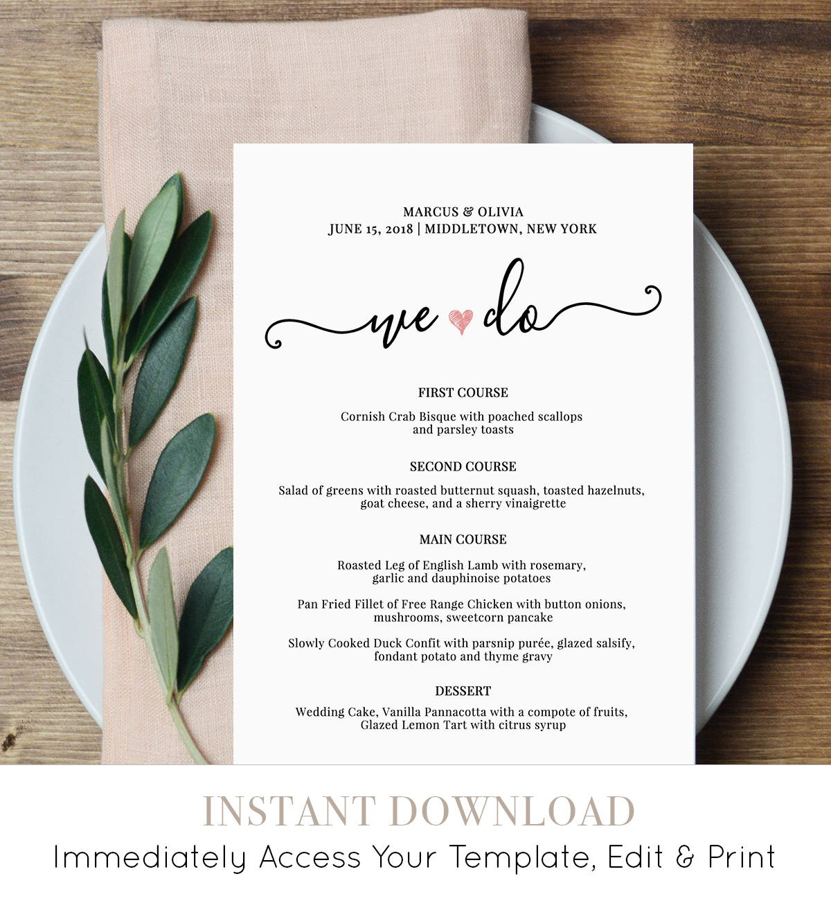 Wedding Menu Card Template, We Do, Printable Dinner Menu, Heart - Free Printable Wedding Menu Card Templates