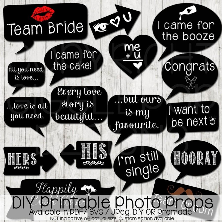 Wedding Photo Booth Props Diy Printable Instant Download Chalkboard - Free Printable Wedding Photo Booth Props