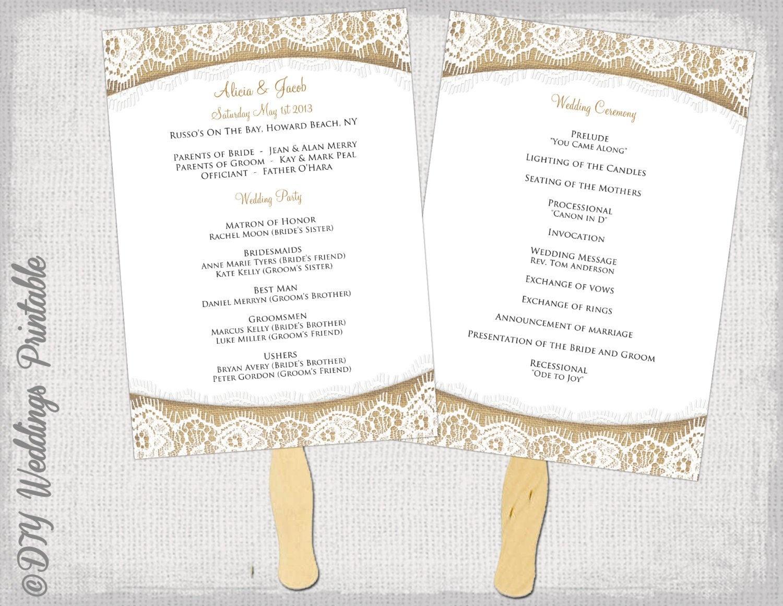 Wedding Program Fan Template Rustic Burlap & Lace | Etsy - Free Printable Fan Wedding Programs