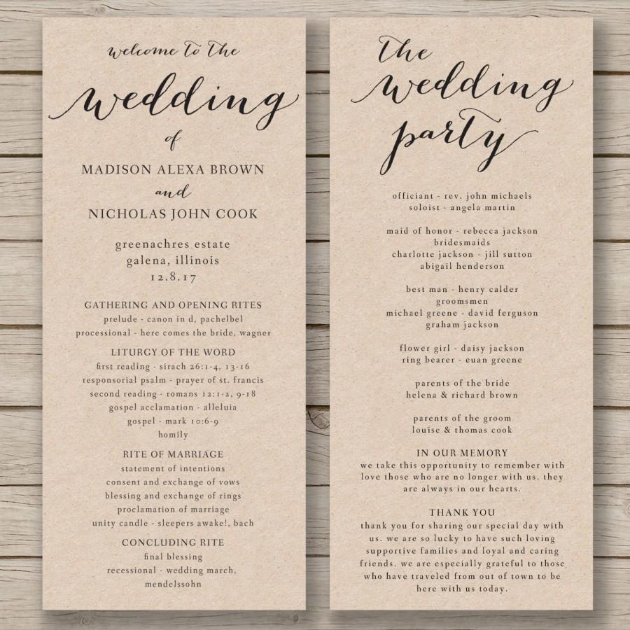 Wedding Program Template - Printable Wedding Program - Diy Editable - Free Printable Wedding Program Templates Word