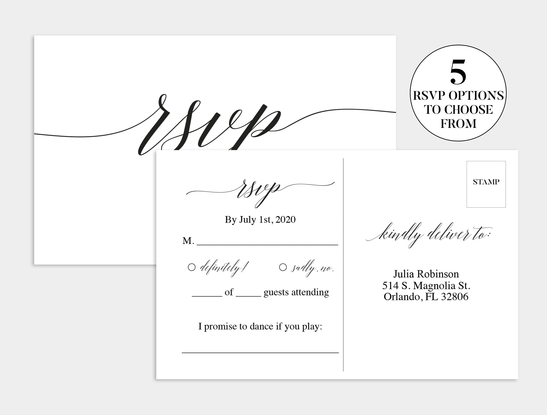 Wedding Rsvp Postcard - Kaza.psstech.co - Free Printable Rsvp Cards