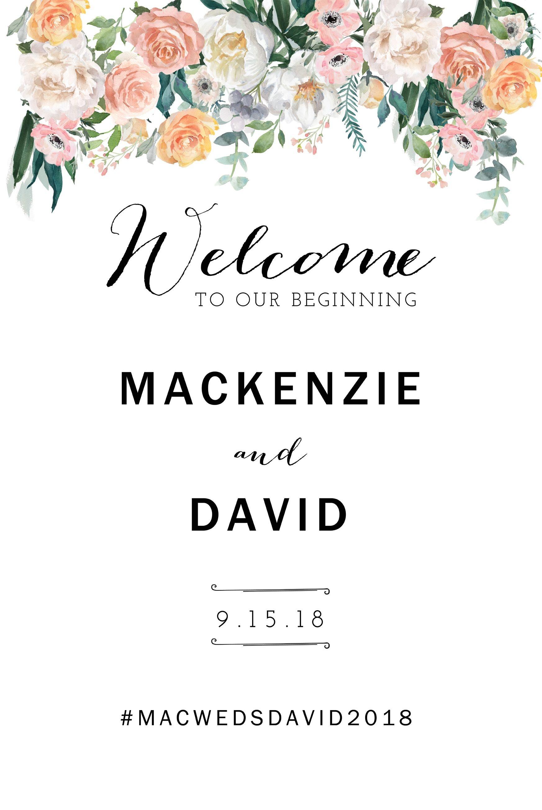 Wedding Welcome Sign Template, Printable Wedding Welcome Sign, Diy - Free Printable Welcome Sign Template