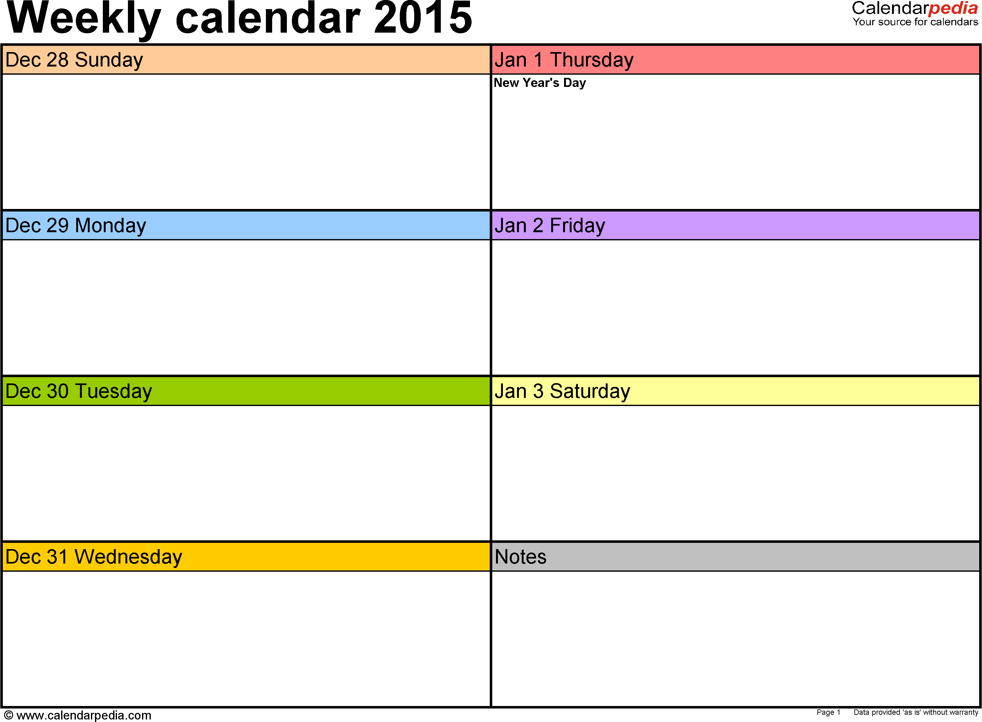 Weekly Calendar 2015 For Pdf - 12 Free Printable Templates - Free Printable Diary 2015