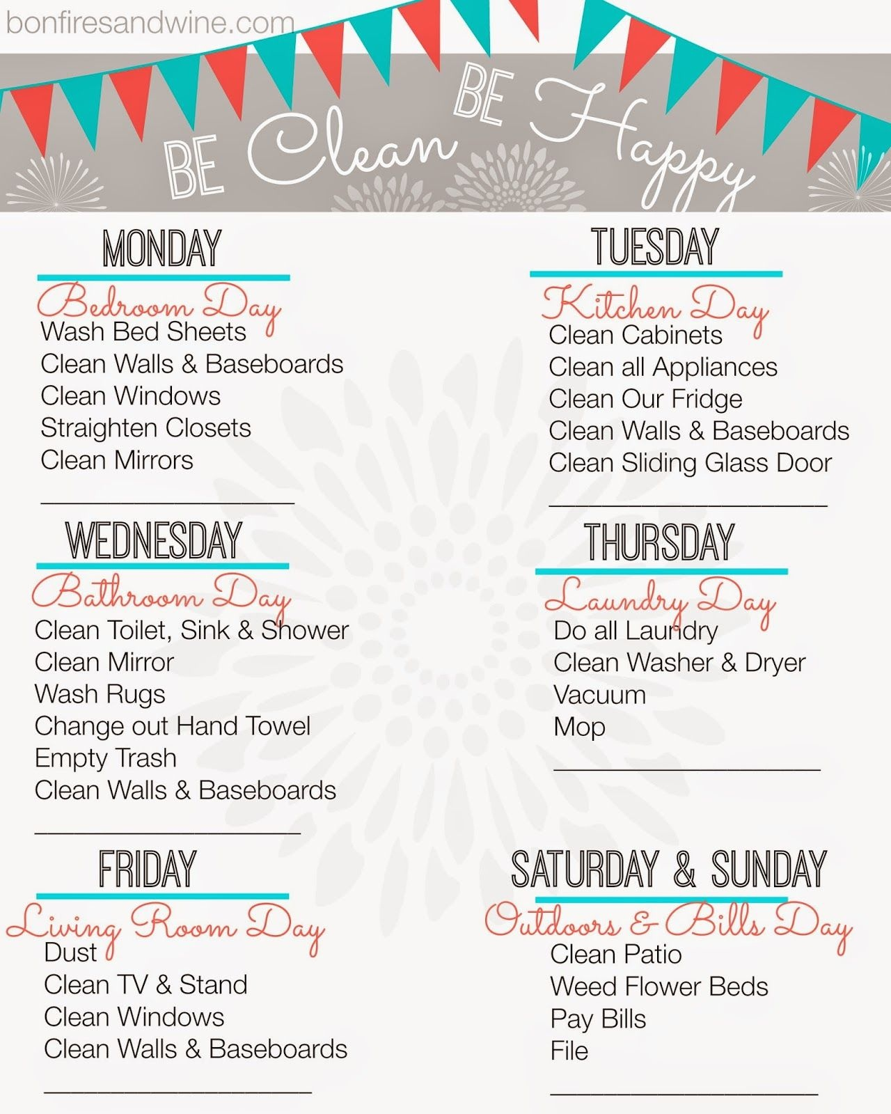Weekly Cleaning Schedule {Free Printable} | Home Organization - Free Printable Cleaning Schedule