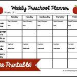 Weekly Preschool Planner {Free Printable}   Free Printable Early Childhood Activities