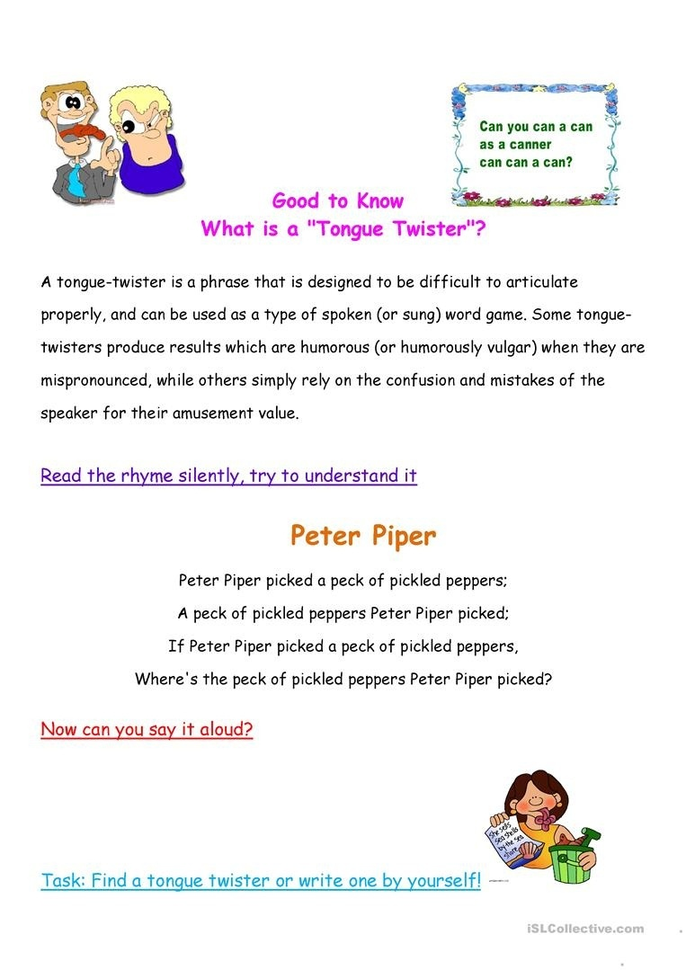 What Is A Tongue Twister? Worksheet - Free Esl Printable Worksheets - Free Printable Tongue Twisters