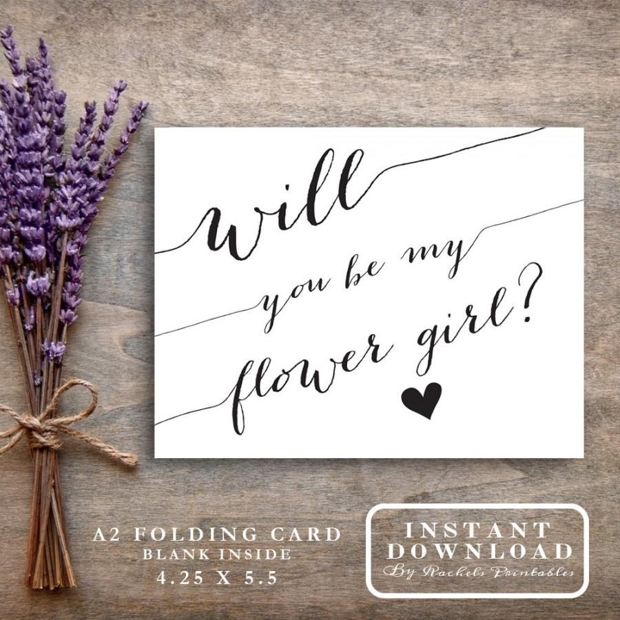 """Will You Be My Flower Girl Card Printable """"will You Be My Flowergirl - Free Printable Will You Be My Maid Of Honor Card"""
