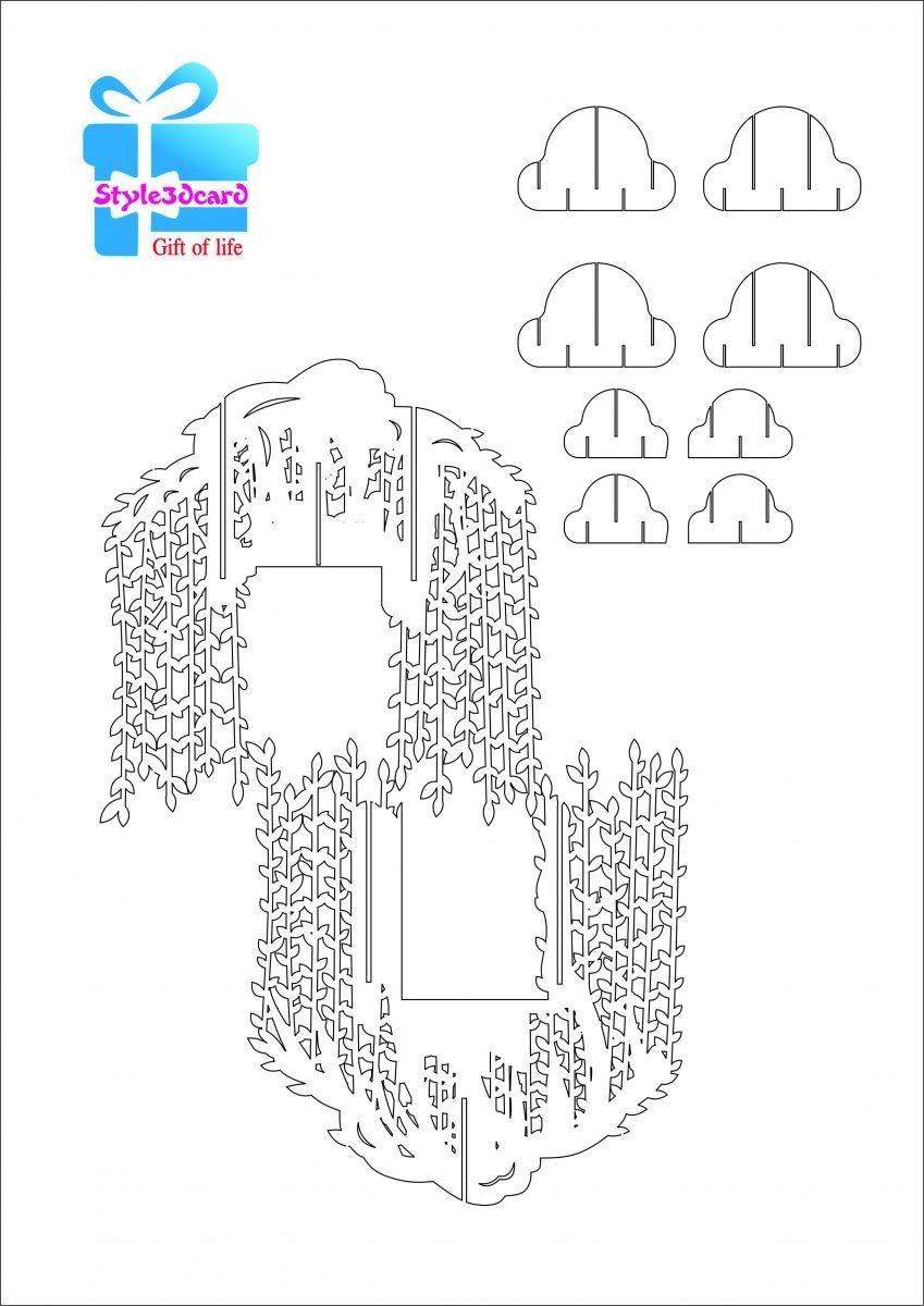 Willow Tree Pop Up Card/kirigami Pattern 2   Pop Up Cards   Pop Up - Free Printable Kirigami Pop Up Card Patterns