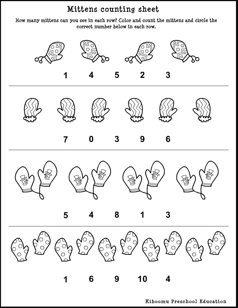 Winter Song And <B>Preschool</b> <B>Math</b> <B>Worksheet</b - Free Printable Winter Preschool Worksheets