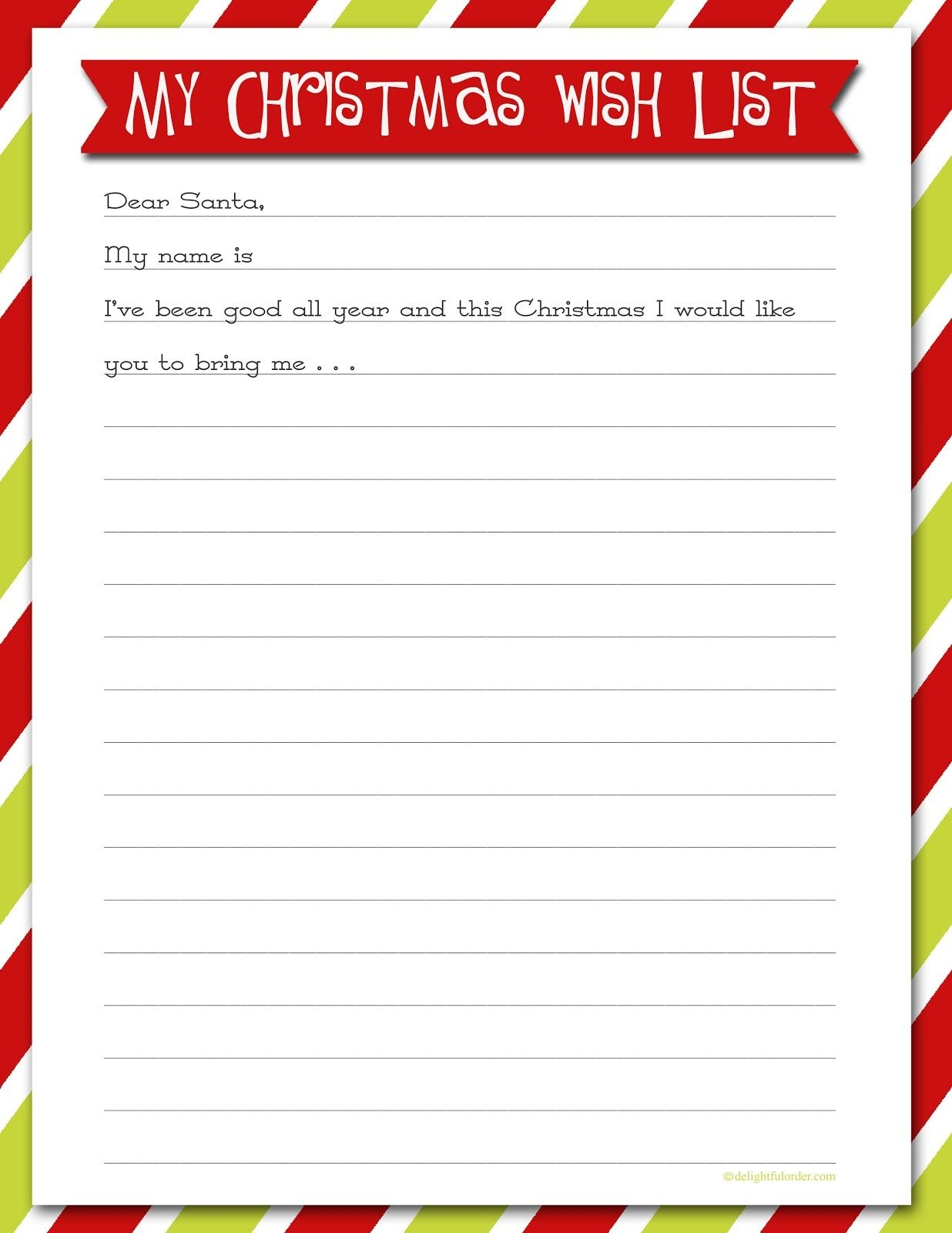 Wish List For Christmas | Simply Click On The Photo Above, Download - Free Printable Christmas List