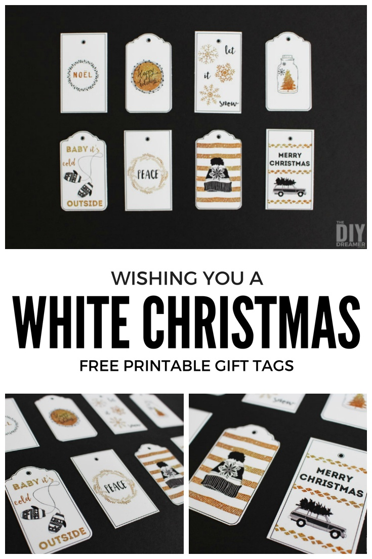 Wishing You A White Christmas Printable Gift Tags - Black And Gold - Christmas Gift Tags Free Printable Black And White