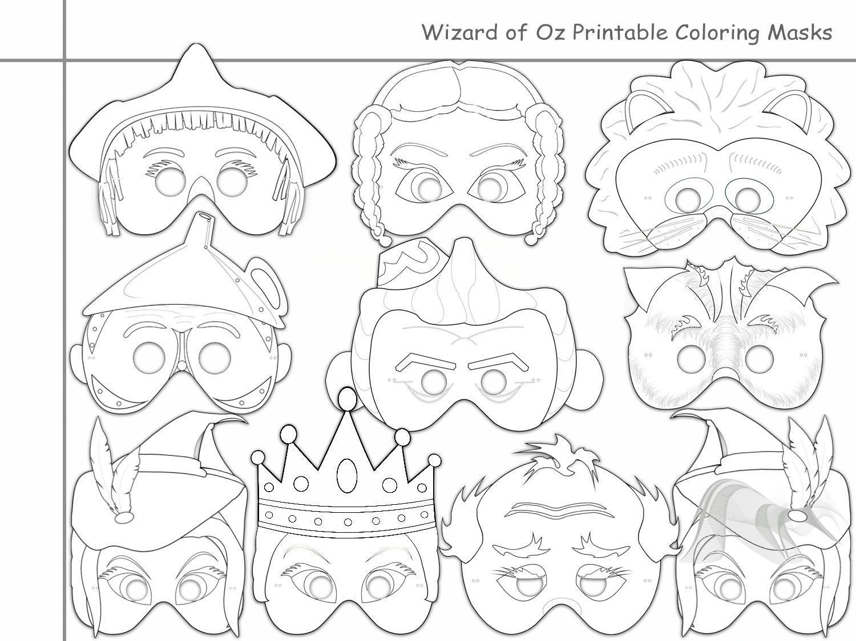 Wizard Of Oz Printable Coloring Masks,holidaypartystar On Zibbet - Free Printable Wizard Of Oz Masks