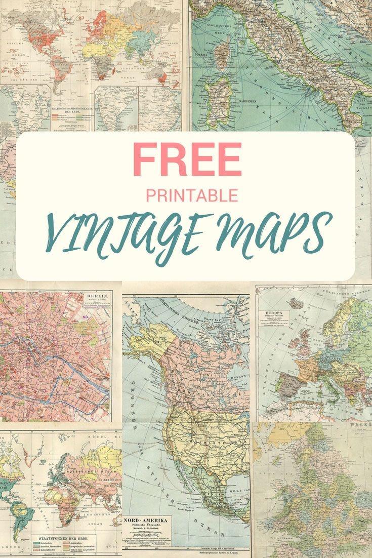 Wonderful Free Printable Vintage Maps To Download   Wedding - Karla - Free Printable Wedding Maps
