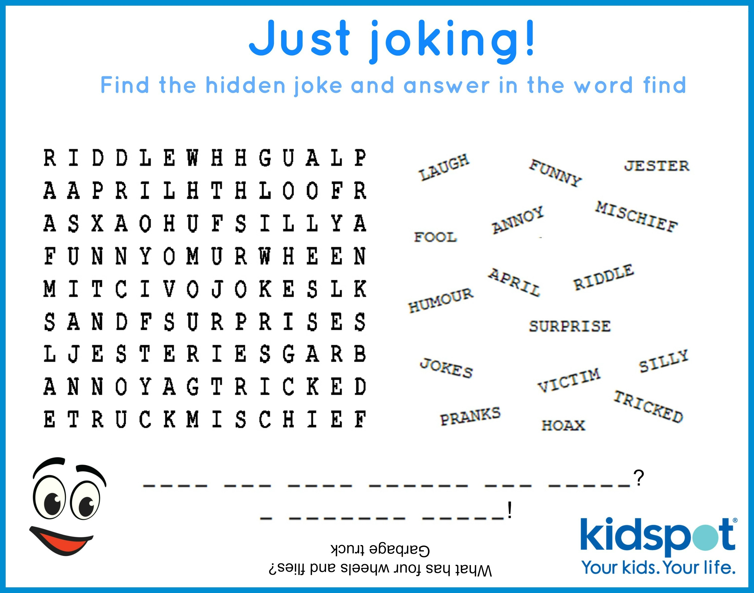 Word Find - Free Printable - April Fools Day - Free Word Search With Hidden Message Printable