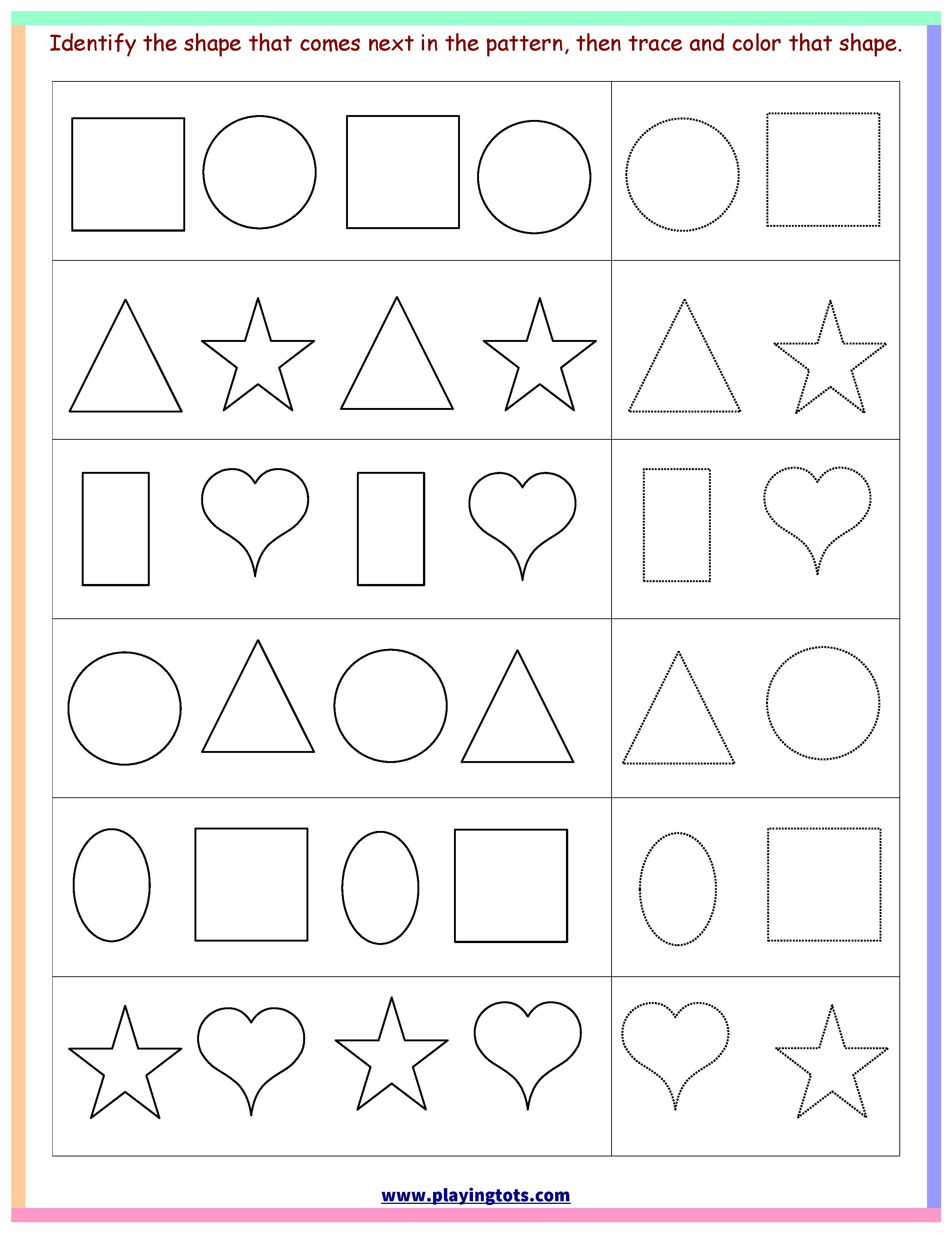 Worksheet,shapes,trace,color,pattern,free,printable,kids,toddler - Free Printable Toddler Learning Worksheets