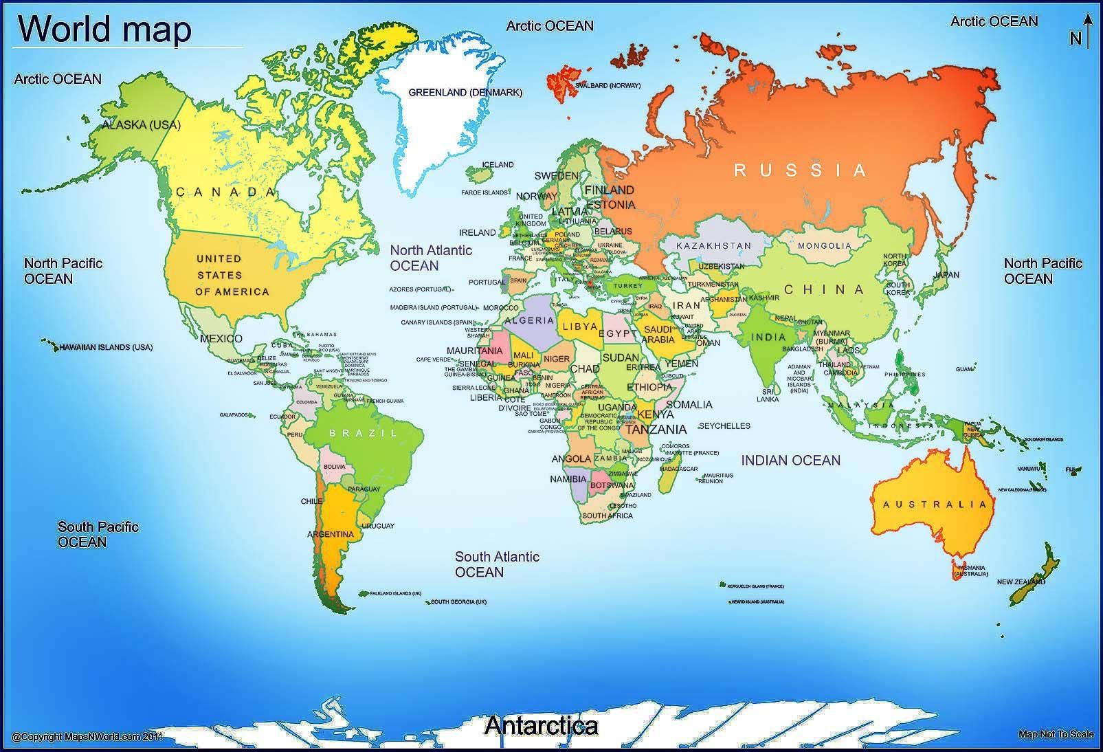 World Map - Free Large Images   Maps   World Map With Countries - Free Printable World Map