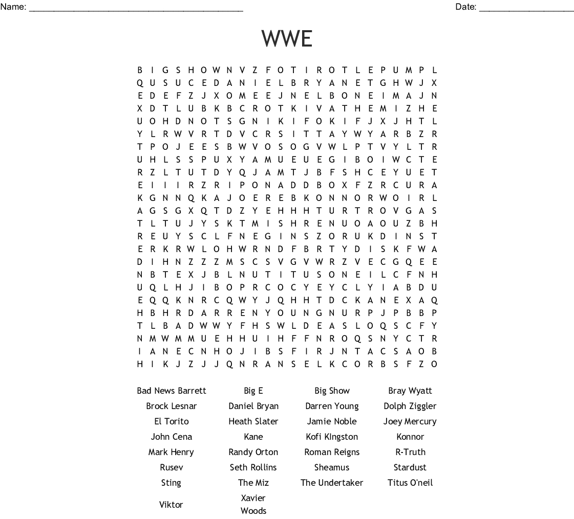 Wwe Word Search - Wordmint - Free Printable Wwe Word Search