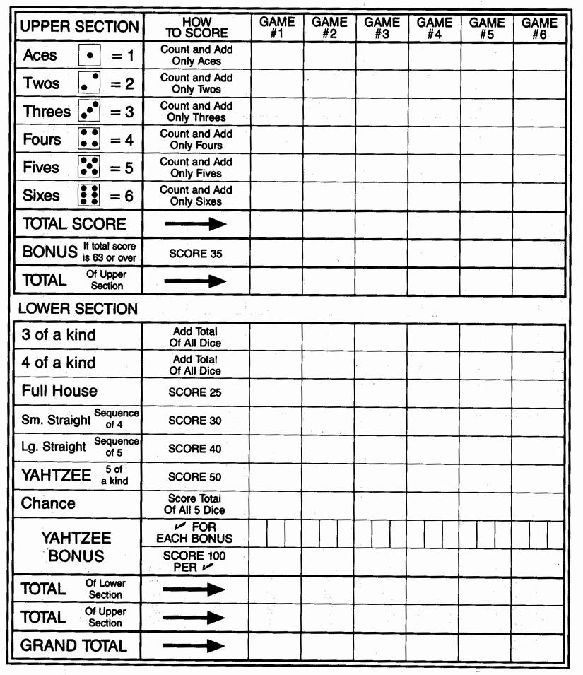 Yardzee Score Card Printable - Masterprintable - Free Printable Yahtzee Score Sheets