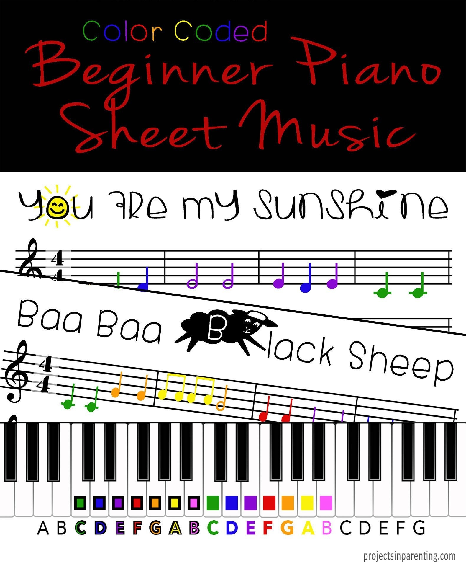 You Are My Sunshine And Baa Baa Black Sheep Color Coded | Etsy - Free Printable Piano Sheet Music For You Are My Sunshine