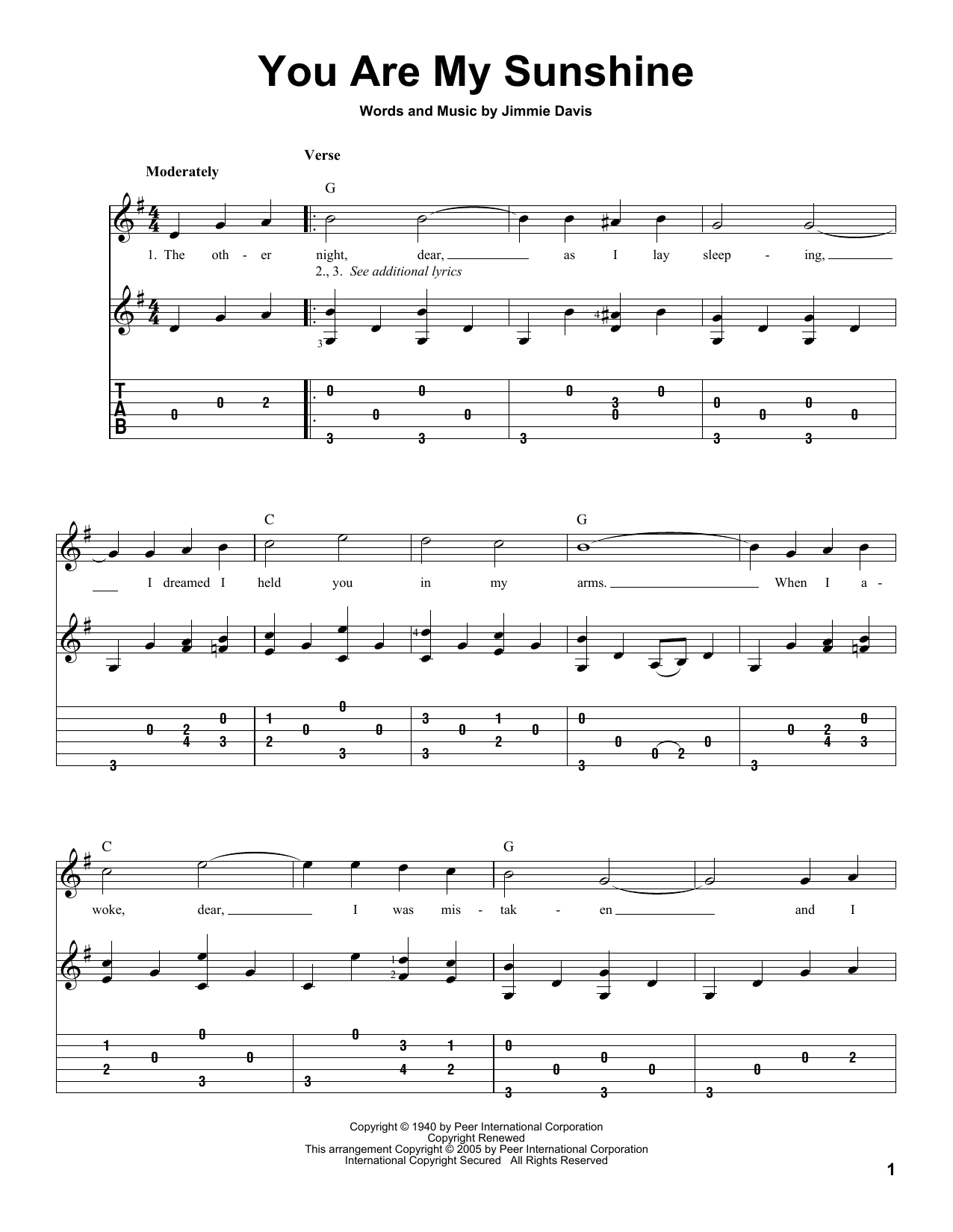You Are My Sunshine Sheet Music Notes, Jimmie Davis Chords - Free Printable Piano Sheet Music For You Are My Sunshine
