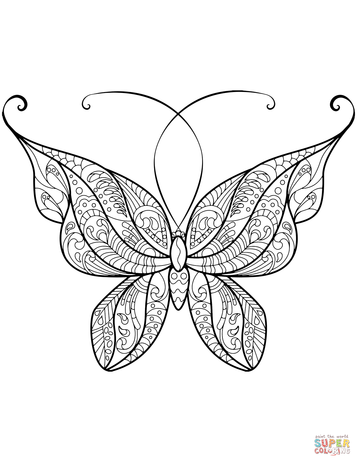 Zentangle Butterfly Coloring Page   Free Printable Coloring Pages - Free Printable Butterfly Coloring Pages